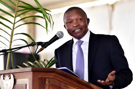 (In Pic - President David Mabuza addressing youth and community memebers at the Youth Imbizo for Economic Opportunities at the AJ Swanepoel Stadium in Ermelo in the Mpumalanga Province) Deputy President David Mabuza engaging with youth at the; Youth Imbizo for Economic Opportunities at the AJ Swanepoel Stadium in Ermelo in the Mpumalanga Province. Deputy President Mabuza participated in a 3 km walk; explored the opportunities that young people should take advantage off from public entities like Nemisa; Usaasa and Sita at an Expo to propel them to a better economic future. The Deputy President said the Youth should use this occasion as an introduction to innovation for addressing the societal issues that this generation faces in Ermelo; Mpumalanga Province.23/06/2018 Jairus Mmutle/GCIS