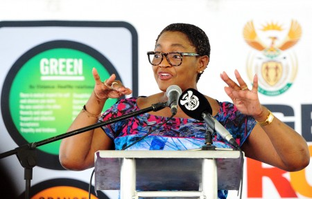 Minister in the Presidency for Women  Bathabile Dlamini addresses the Launch of the sanitary dignity programme at Piet Retief Rugby Stadium in Mpumalanga. South Africa. 28/02/2019. Siyabulela Duda
