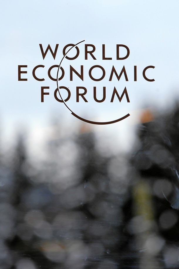 DAVOS/SWITZERLAND, 21JAN14 - The logo of the Annual Meeting 2014 of the World Economic Forum is seen at the congress centre in Davos, January 21, 2014.   WORLD ECONOMIC FORUM/swiss-image.ch/Photo Jolanda Flubacher Derungs